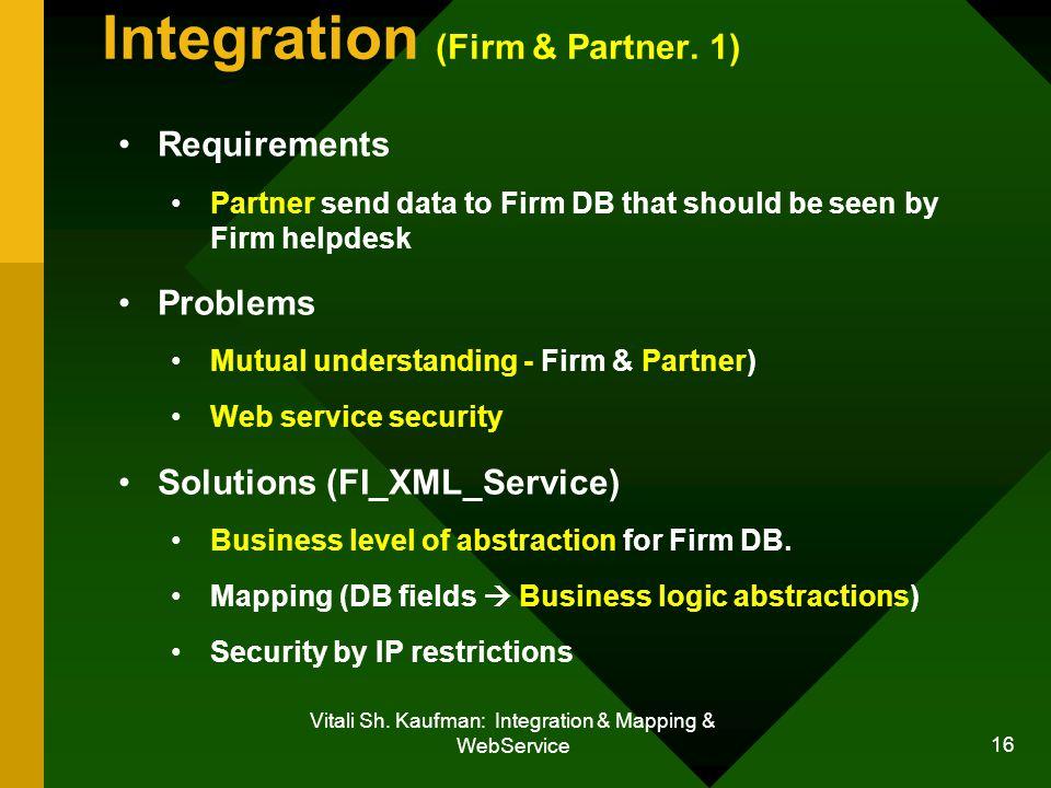 Vitali Sh. Kaufman: Integration & Mapping & WebService 16 Integration (Firm & Partner.