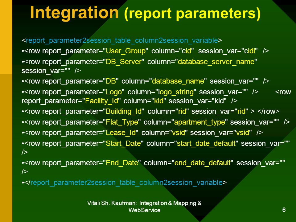 Vitali Sh. Kaufman: Integration & Mapping & WebService 6 Integration (report parameters)