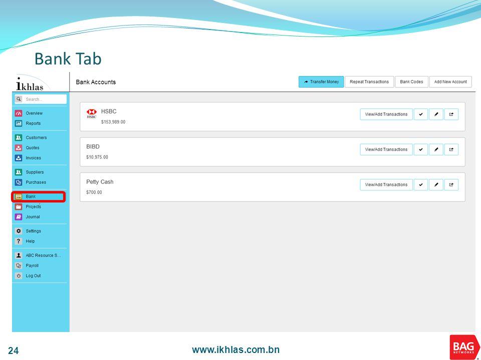 www.ikhlas.com.bn 24 Bank Tab