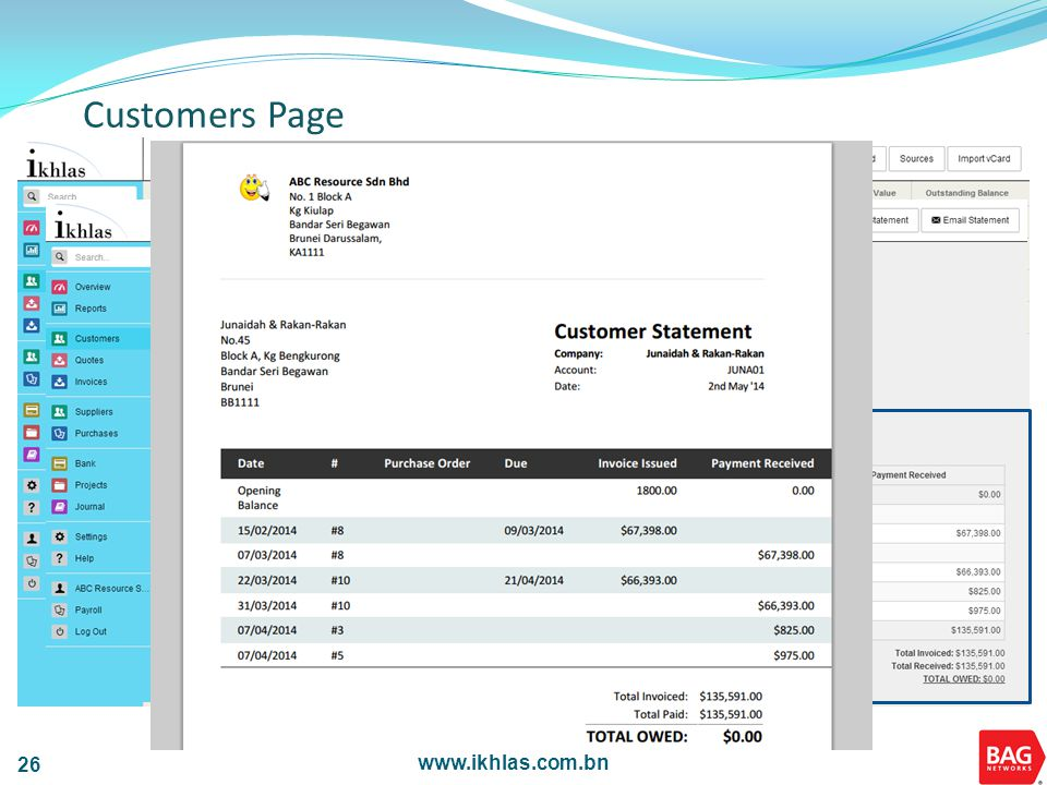 www.ikhlas.com.bn 26 Customers Page