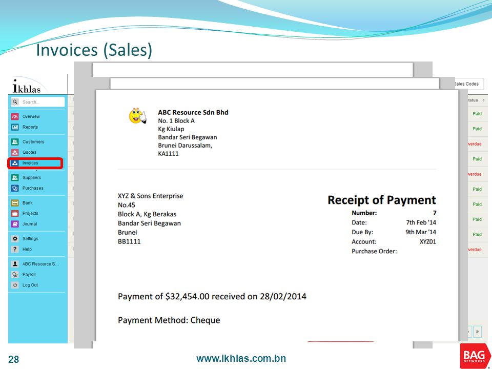 www.ikhlas.com.bn 28 Invoices (Sales)