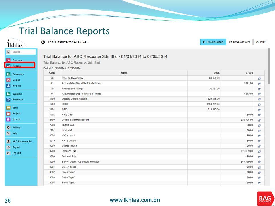 www.ikhlas.com.bn 36 Trial Balance Reports