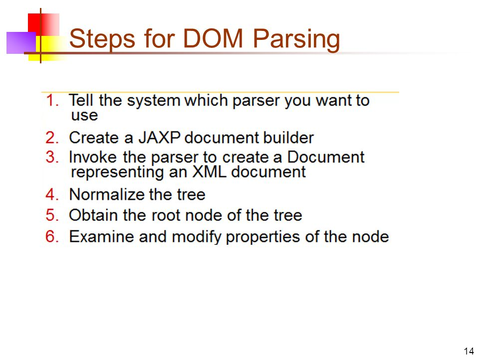 Steps for DOM Parsing 14
