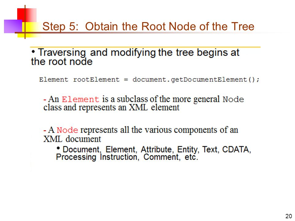Step 5: Obtain the Root Node of the Tree 20