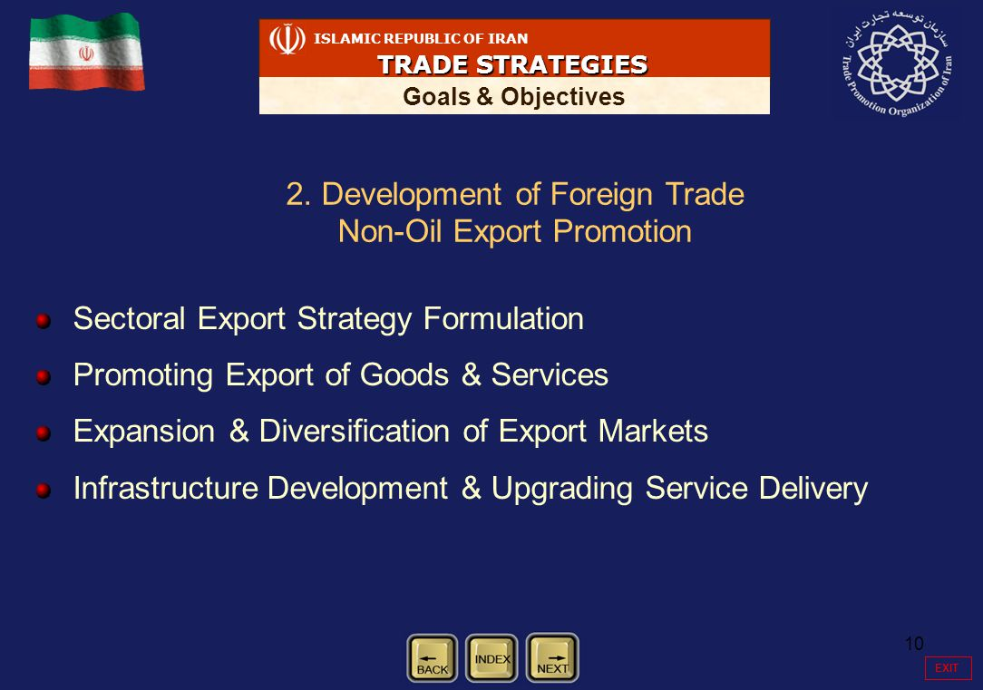 10 ISLAMIC REPUBLIC OF IRAN TRADE STRATEGIES Goals & Objectives Sectoral Export Strategy Formulation Promoting Export of Goods & Services Expansion & Diversification of Export Markets Infrastructure Development & Upgrading Service Delivery 2.