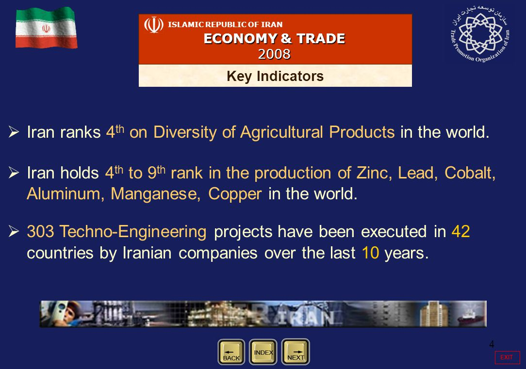 4   Iran ranks 4 th on Diversity of Agricultural Products in the world.
