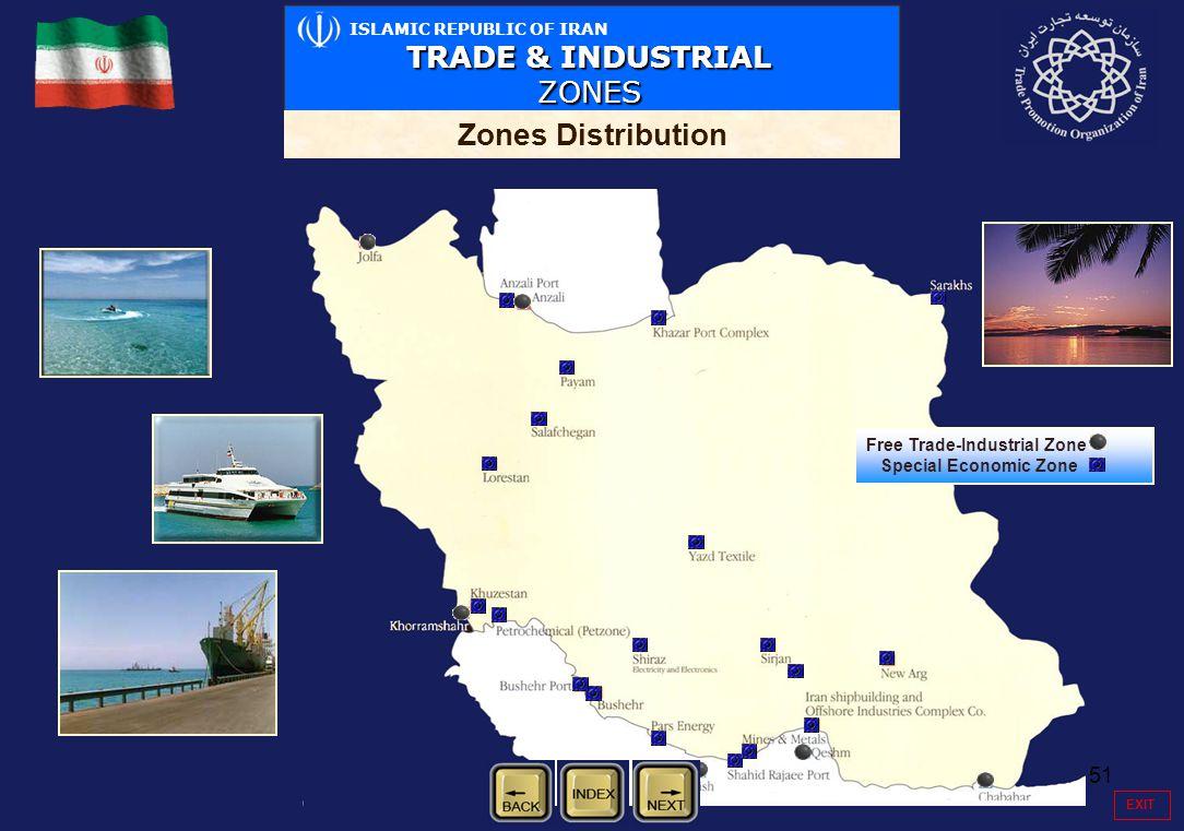 51 ISLAMIC REPUBLIC OF IRAN TRADE & INDUSTRIAL ZONES Zones Distribution Free Trade-Industrial Zone Special Economic Zone EXIT