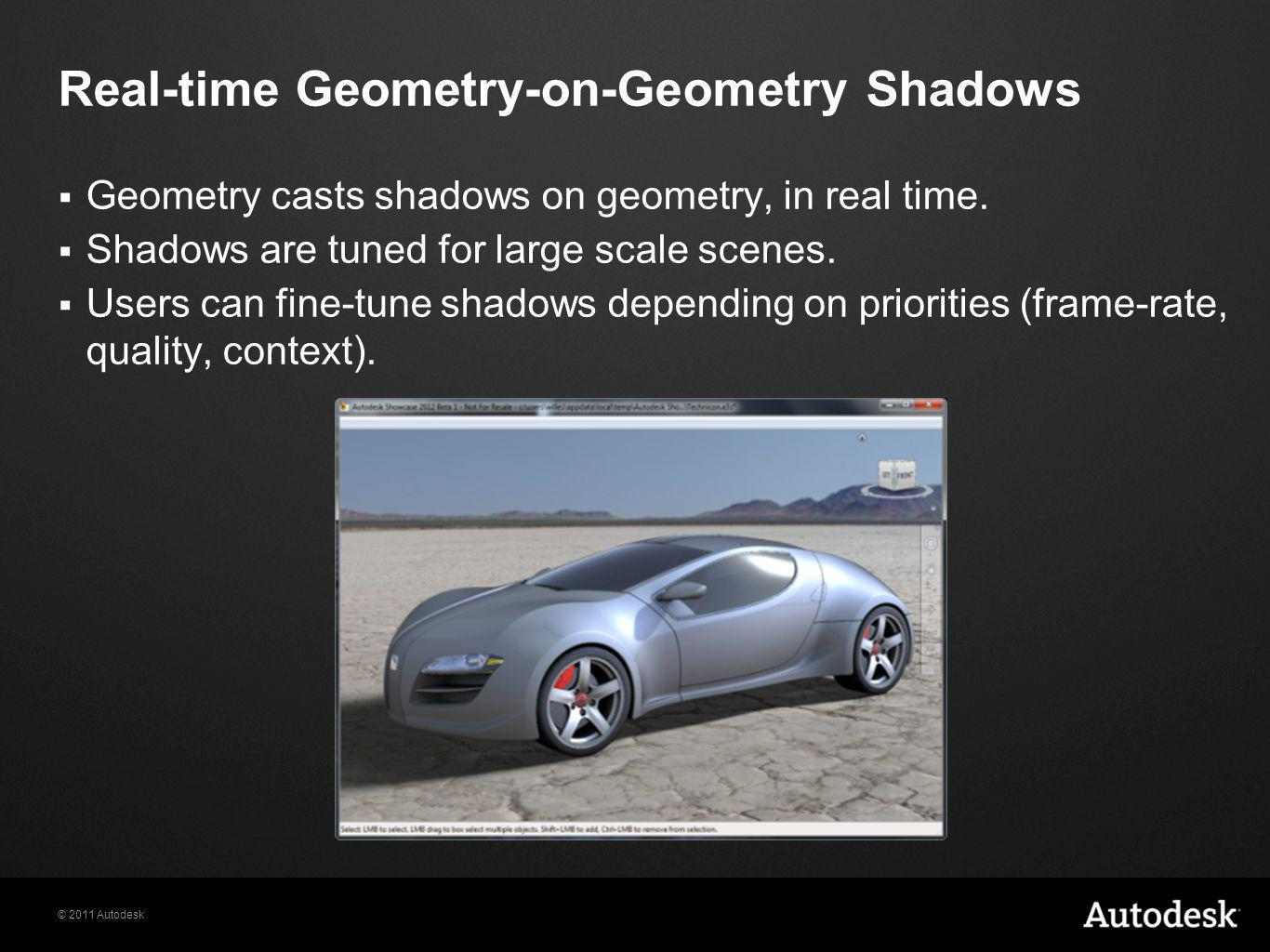 © 2011 Autodesk  Geometry casts shadows on geometry, in real time.