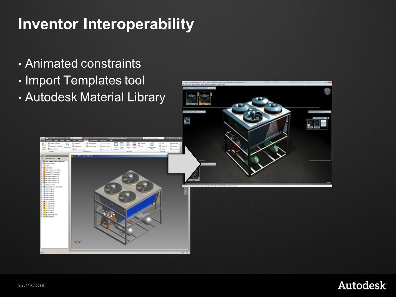 © 2011 Autodesk Animated constraints Import Templates tool Autodesk Material Library Inventor Interoperability