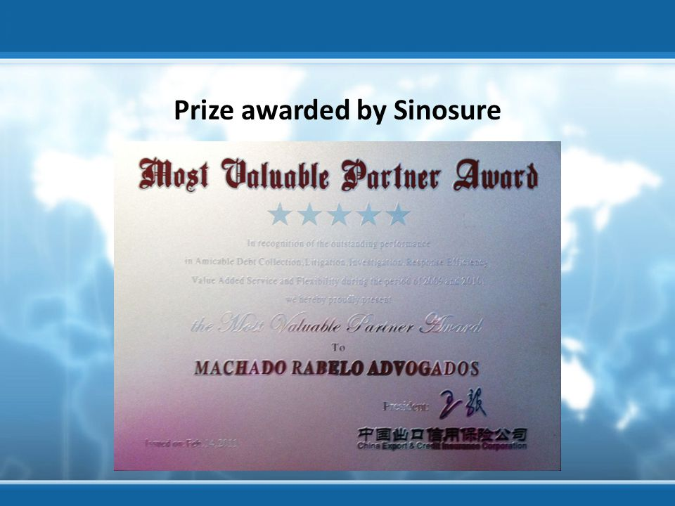 Prize awarded by Sinosure Visita ao banco Votorantim - Agosto 2012