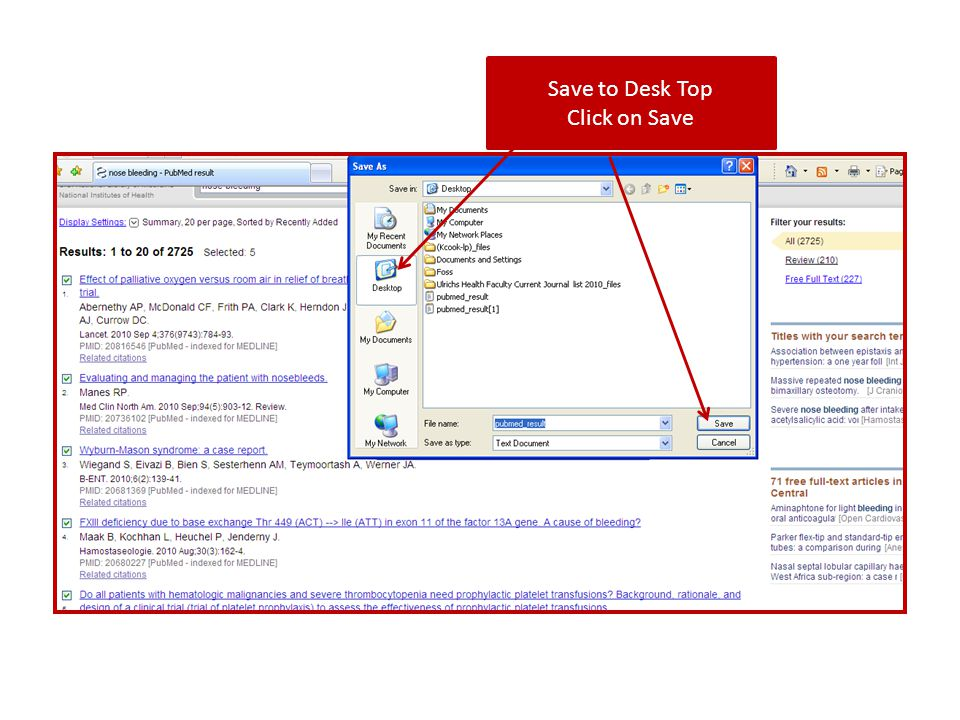 Save to Desk Top Click on Save