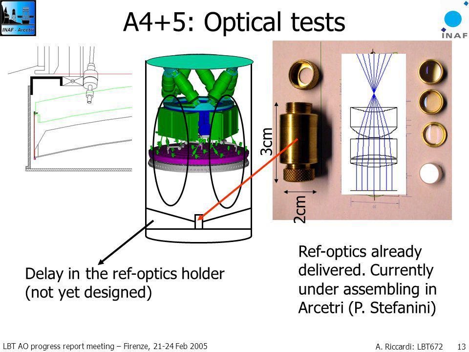 LBT AO progress report meeting – Firenze, 21-24 Feb 2005 A. Riccardi: LBT672 13 A4+5: Optical tests Delay in the ref-optics holder (not yet designed)