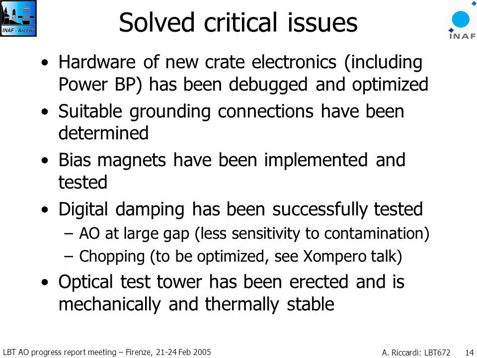 LBT AO progress report meeting – Firenze, 21-24 Feb 2005 A. Riccardi: LBT672 14 Solved critical issues Hardware of new crate electronics (including Po