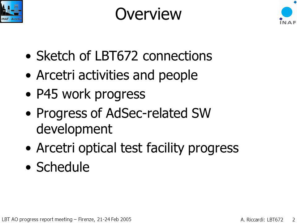 LBT AO progress report meeting – Firenze, 21-24 Feb 2005 A. Riccardi: LBT672 2 Overview Sketch of LBT672 connections Arcetri activities and people P45