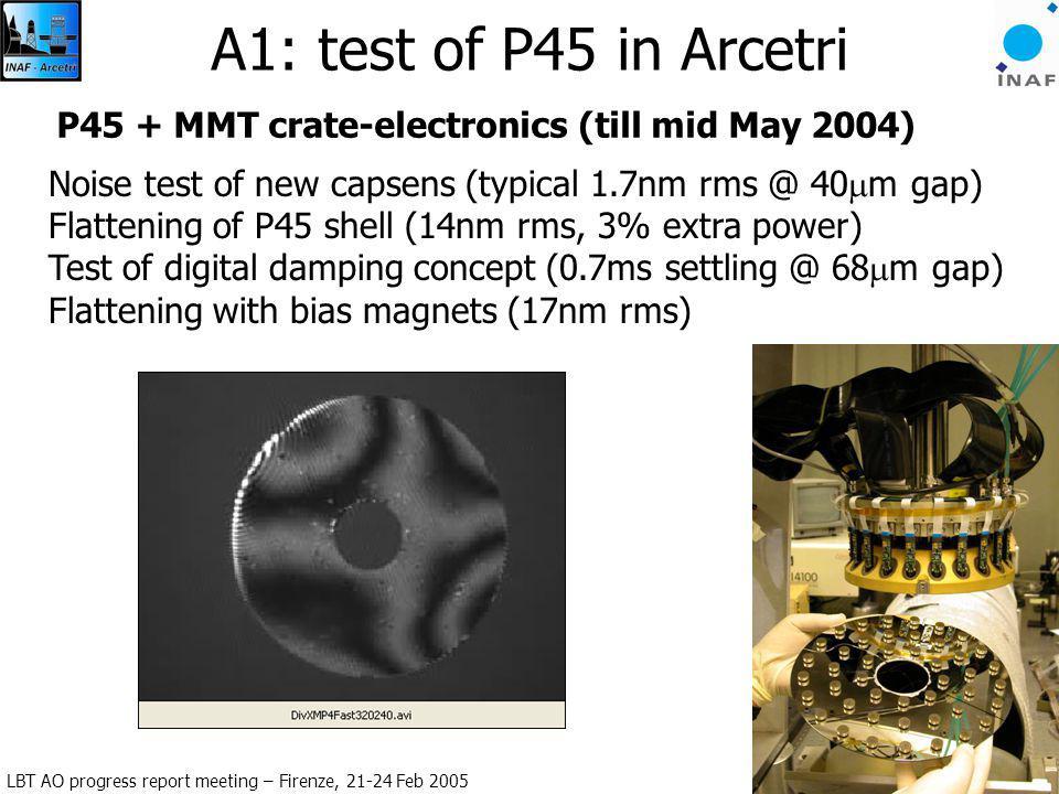 LBT AO progress report meeting – Firenze, 21-24 Feb 2005 A. Riccardi: LBT672 6 A1: test of P45 in Arcetri P45 + MMT crate-electronics (till mid May 20