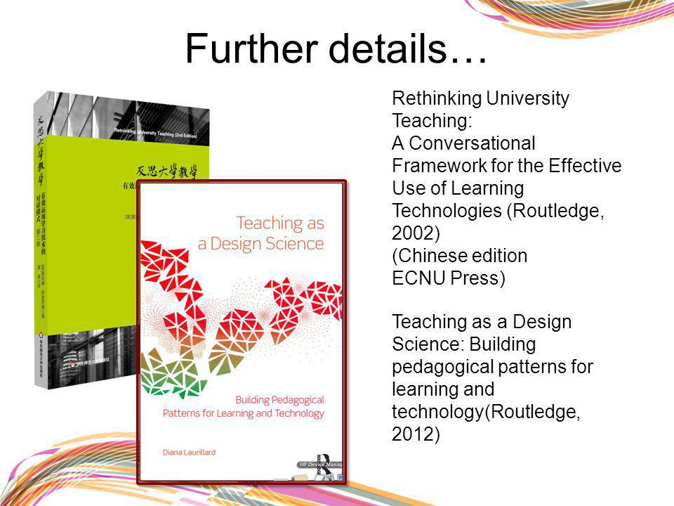 Further details… Rethinking University Teaching: A Conversational Framework for the Effective Use of Learning Technologies (Routledge, 2002) (Chinese