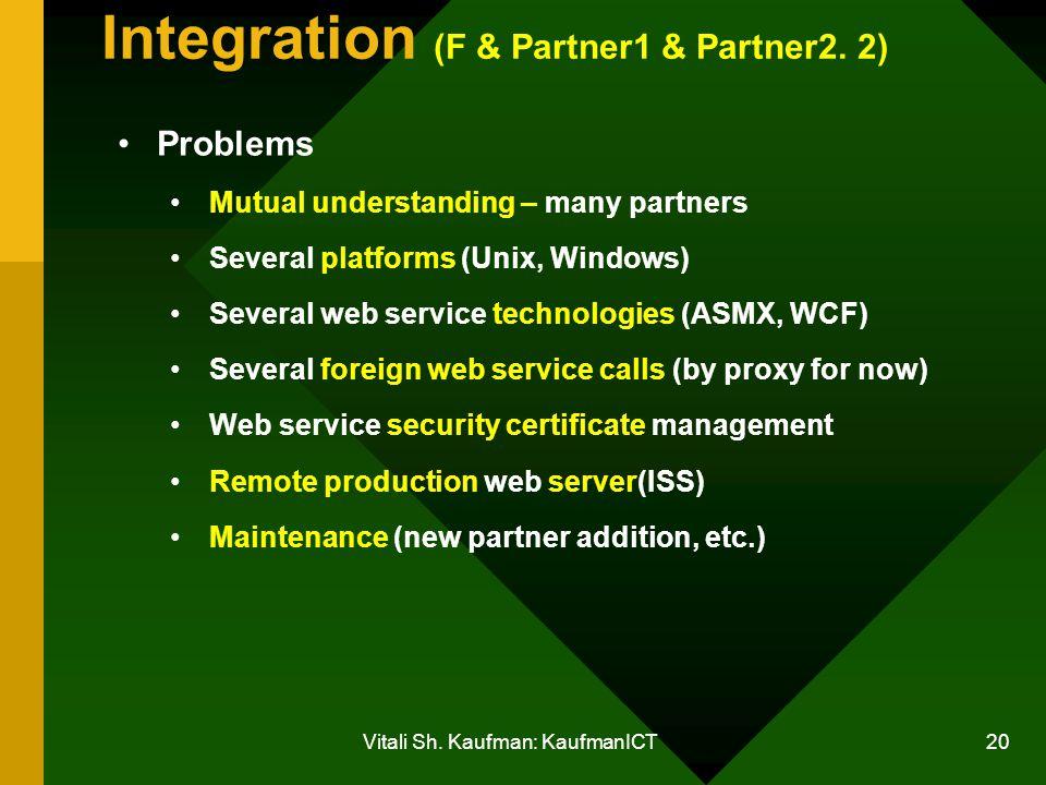 Vitali Sh. Kaufman: KaufmanICT 20 Integration (F & Partner1 & Partner2.