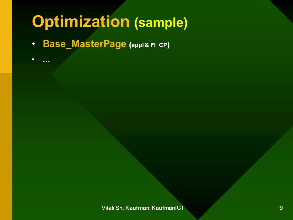 Vitali Sh. Kaufman: KaufmanICT 9 Optimization (sample) Base_MasterPage ( appl & FI_CP ) …