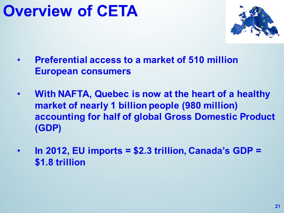 Overview of CETA Preferential access to a market of 510 million European consumers With NAFTA, Quebec is now at the heart of a healthy market of nearly 1 billion people (980 million) accounting for half of global Gross Domestic Product (GDP) In 2012, EU imports = $2.3 trillion, Canada's GDP = $1.8 trillion 21