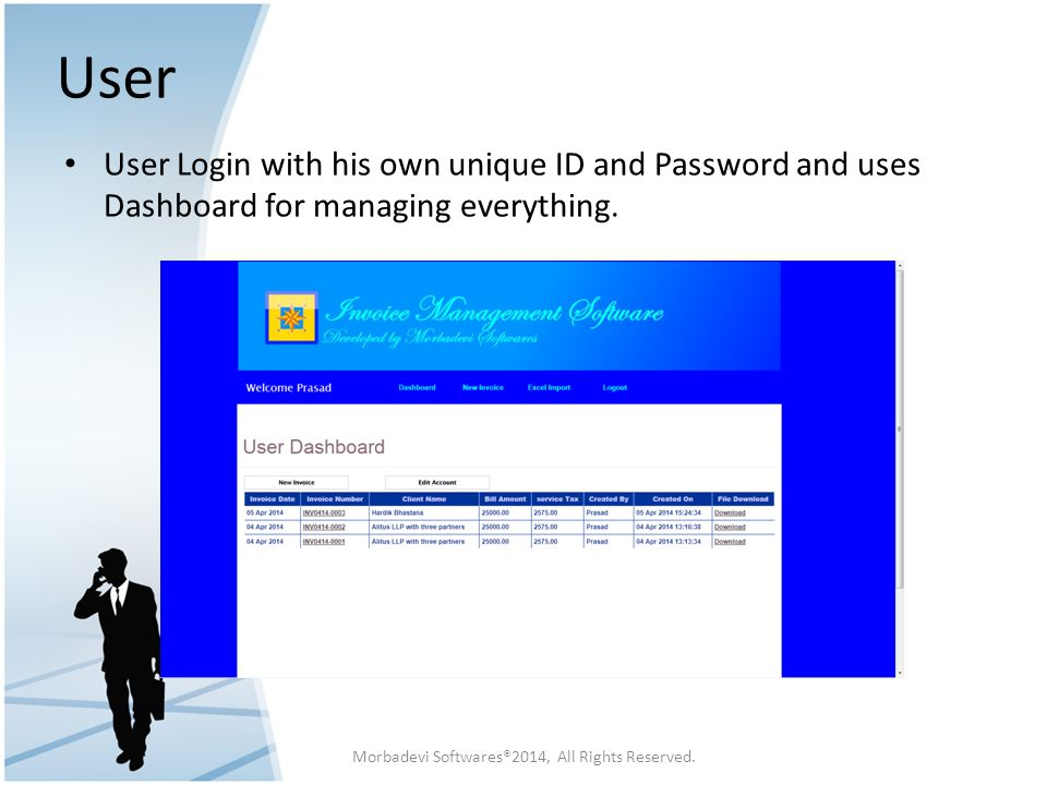 User User Login with his own unique ID and Password and uses Dashboard for managing everything. Morbadevi Softwares®2014, All Rights Reserved.