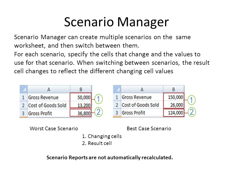 Scenario Manager Scenario Manager can create multiple scenarios on the same worksheet, and then switch between them.