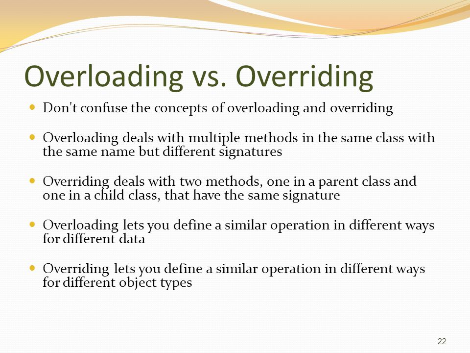 Overloading vs.
