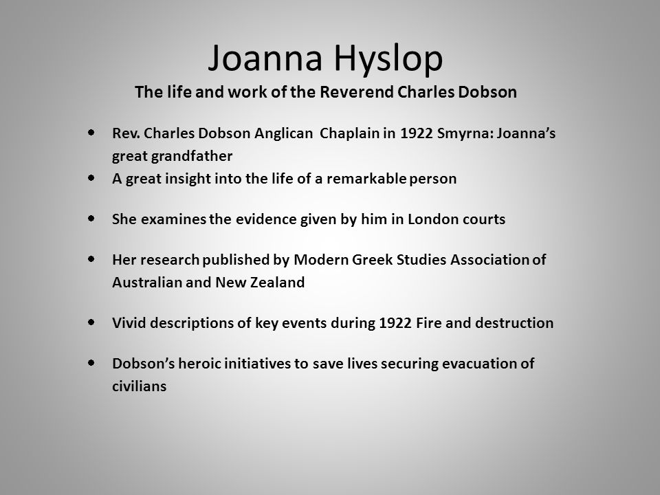 Joanna Hyslop The life and work of the Reverend Charles Dobson  Rev.