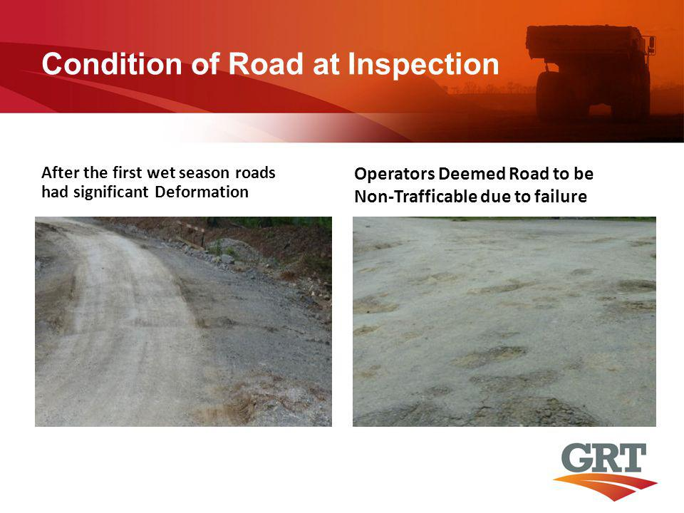 Condition of Road at Inspection After the first wet season roads had significant Deformation Operators Deemed Road to be Non-Trafficable due to failur