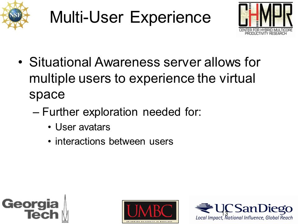 Multi-User Experience Situational Awareness server allows for multiple users to experience the virtual space –Further exploration needed for: User avatars interactions between users 13