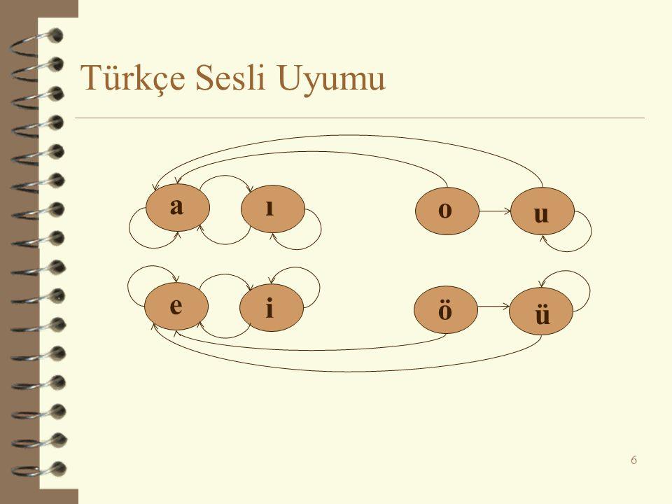 Türkçe Sesli Uyumu 6 a ı e i o u ö ü