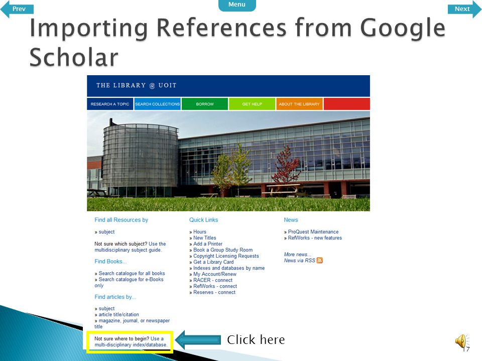  Google scholar is an extremely useful database of scholarly works which makes it incredibly easy to gather reference material.