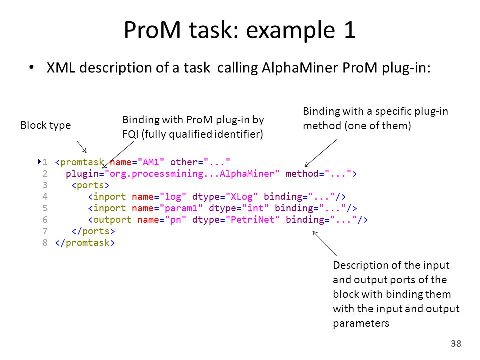 ProM task: example 1 XML description of a task calling AlphaMiner ProM plug-in: 38 Block type Binding with ProM plug-in by FQI (fully qualified identifier) Binding with a specific plug-in method (one of them) Description of the input and output ports of the block with binding them with the input and output parameters