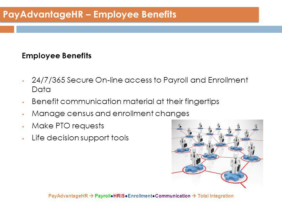 Employee Benefits 24/7/365 Secure On-line access to Payroll and Enrollment Data Benefit communication material at their fingertips Manage census and enrollment changes Make PTO requests Life decision support tools PayAdvantageHR – Employee Benefits PayAdvantageHR  Payroll●HRIS●Enrollment●Communication  Total Integration