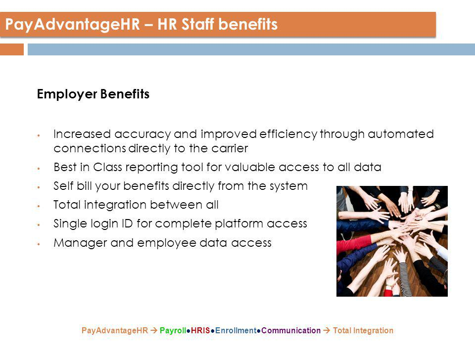 Employer Benefits Increased accuracy and improved efficiency through automated connections directly to the carrier Best in Class reporting tool for valuable access to all data Self bill your benefits directly from the system Total integration between all Single login ID for complete platform access Manager and employee data access PayAdvantageHR – HR Staff benefits PayAdvantageHR  Payroll●HRIS●Enrollment●Communication  Total Integration
