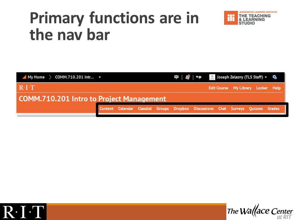 Primary functions are in the nav bar