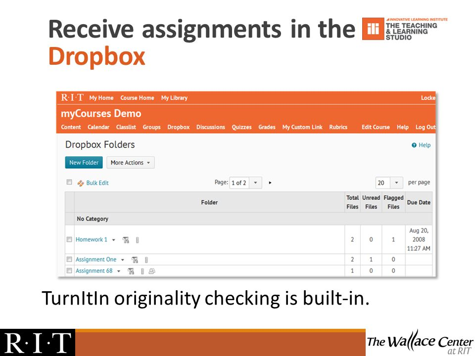 TurnItIn originality checking is built-in. Receive assignments in the Dropbox