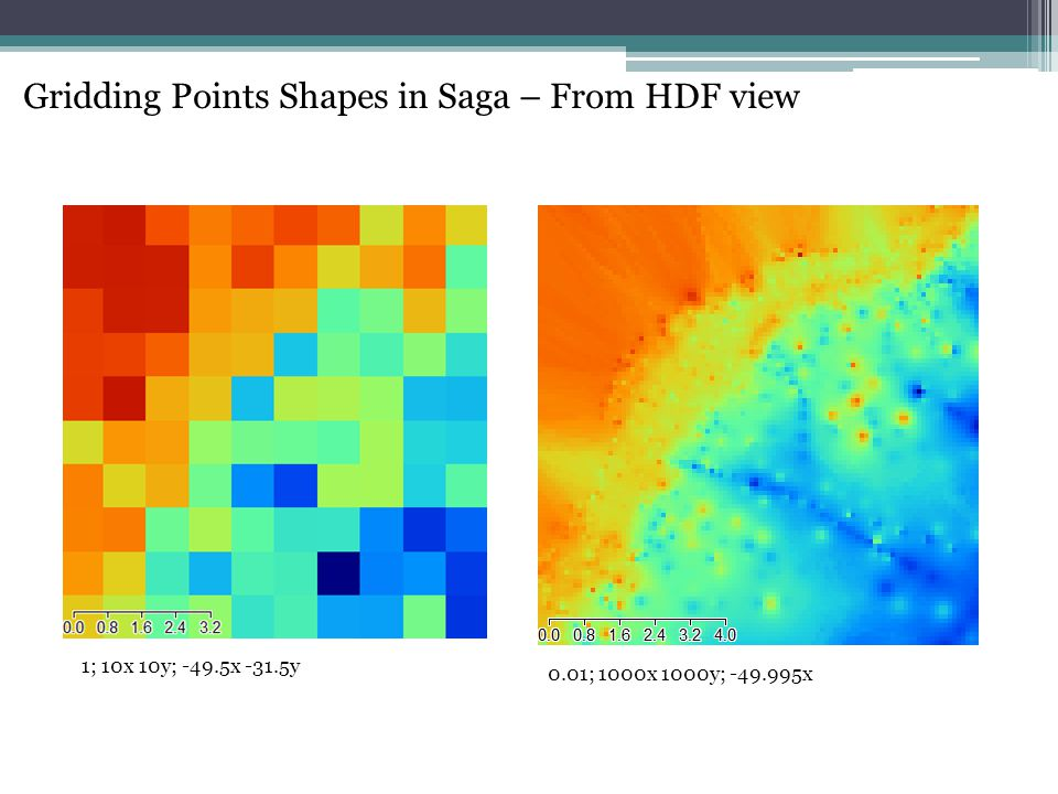 Gridding Points Shapes in Saga – From HDF view 0.01; 1000x 1000y; -49.995x 1; 10x 10y; -49.5x -31.5y