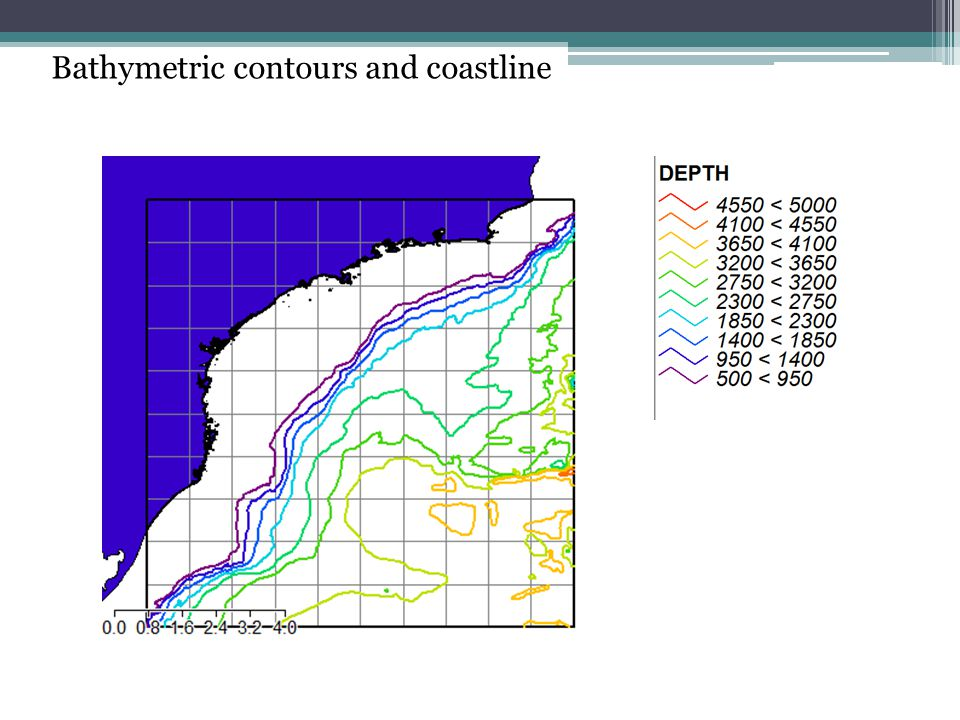 Bathymetric contours and coastline
