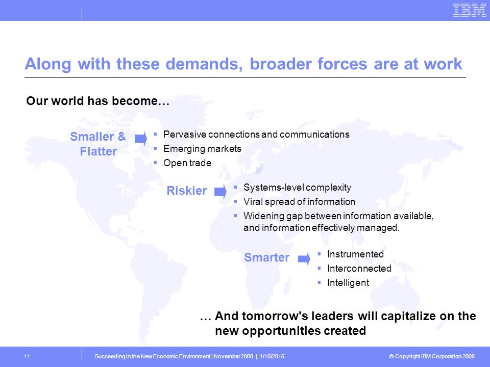 © Copyright IBM Corporation 2008 Succeeding in the New Economic Environment | November 2008 | 1/15/201511 Along with these demands, broader forces are at work … And tomorrow s leaders will capitalize on the new opportunities created Our world has become… Smaller & Flatter Riskier  Pervasive connections and communications  Emerging markets  Open trade  Systems-level complexity  Viral spread of information  Widening gap between information available, and information effectively managed.