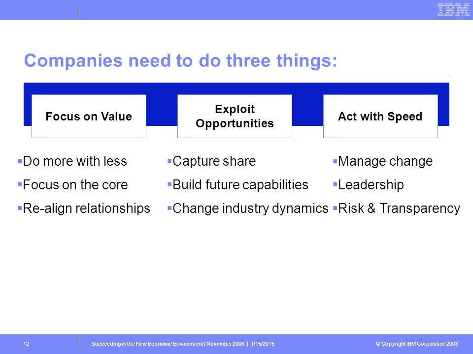© Copyright IBM Corporation 2008 Succeeding in the New Economic Environment | November 2008 | 1/15/201512 Companies need to do three things: Focus on Value Exploit Opportunities Act with Speed  Do more with less  Focus on the core  Re-align relationships  Capture share  Build future capabilities  Change industry dynamics  Manage change  Leadership  Risk & Transparency