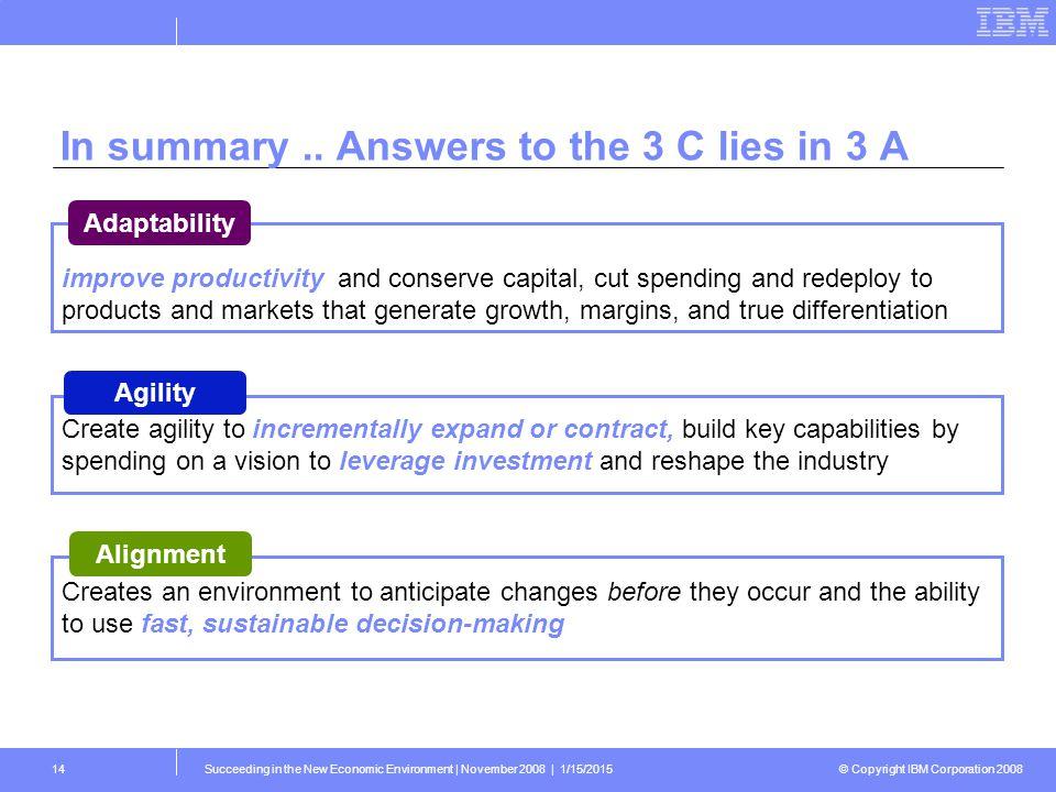 © Copyright IBM Corporation 2008 Succeeding in the New Economic Environment   November 2008   1/15/201514 In summary..