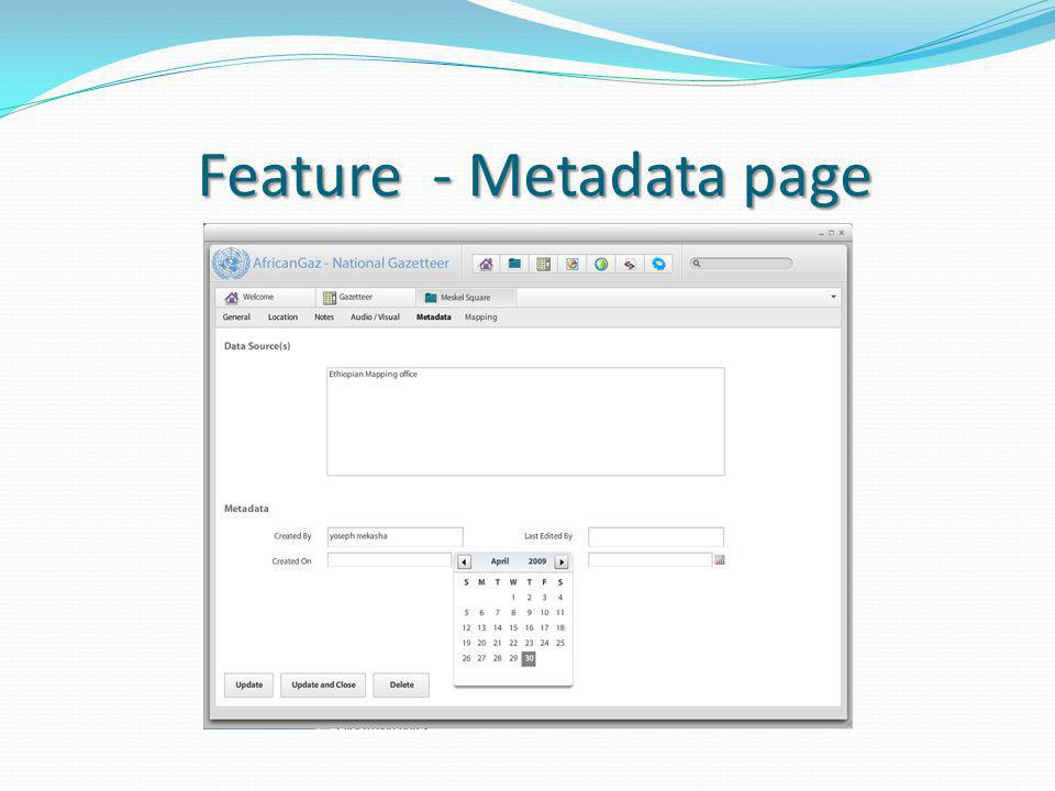 Feature - Metadata page