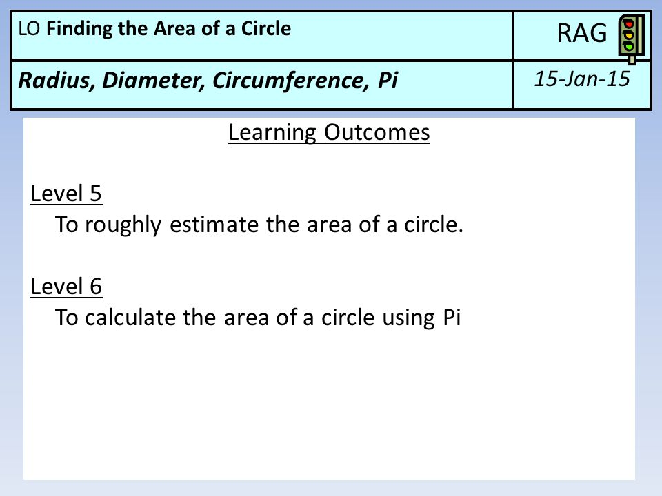 15-Jan-15 RAG Radius, Diameter, Circumference, Pi LO Finding the Area of a Circle Learning Outcomes Level 5 To roughly estimate the area of a circle.