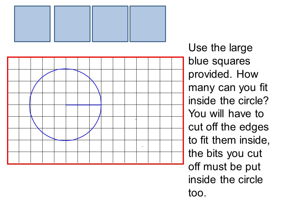 Use the large blue squares provided.How many can you fit inside the circle.