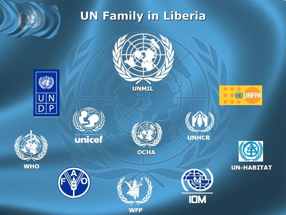 UN Family in Liberia UNMIL WHO UNHCR WFP OCHA UN-HABITAT