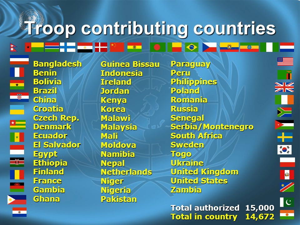 Troop contributing countries BangladeshBeninBoliviaBrazilChinaCroatia Czech Rep.