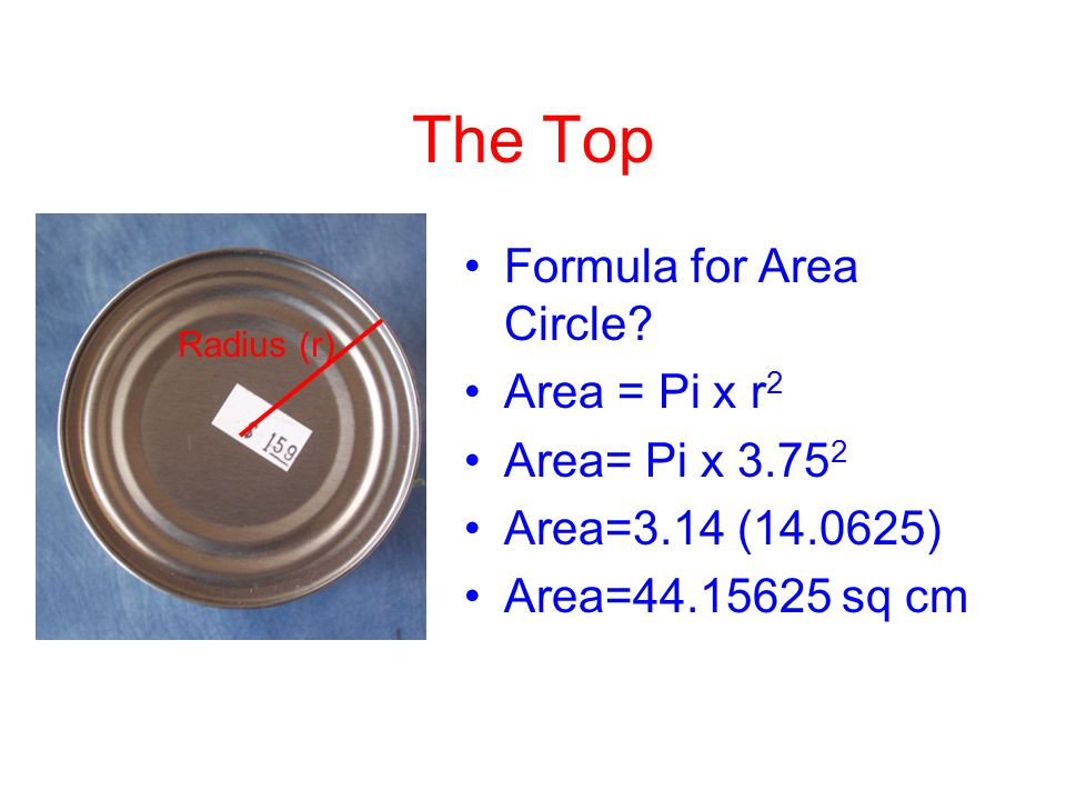The Bottom Same as top Area = Pi x r 2 Area= Pi x 3.75 2 Area=3.14 (14.0625) Area=44.15625 sq cm
