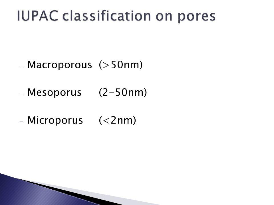 - Macroporous(>50nm) - Mesoporus(2-50nm) - Microporus(<2nm)