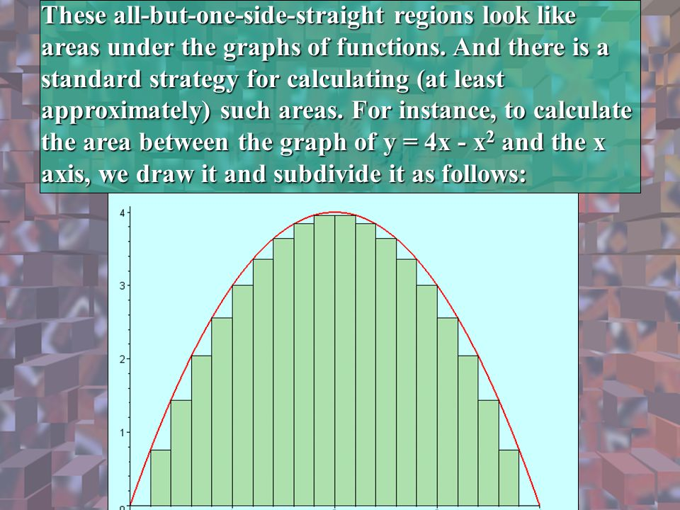 These all-but-one-side-straight regions look like areas under the graphs of functions. And there is a standard strategy for calculating (at least appr