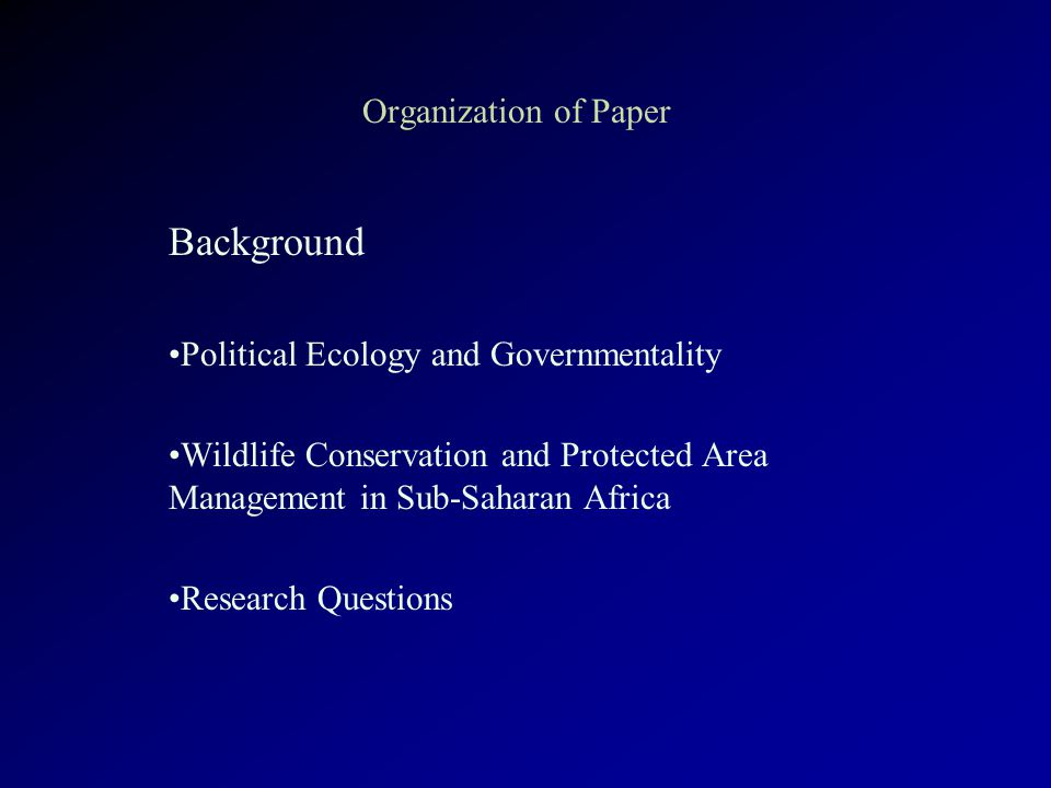 Methodology Prototype Database South African Protected Areas along the Western and Southern Boundaries of Kruger National Park Initial Governmentality Survey, June 2003